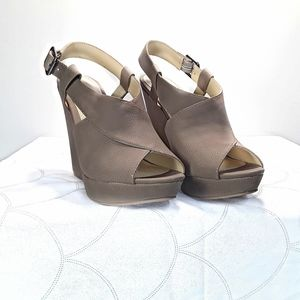 Chines Laundry Tan, Beige, Taupe Wedge Sandals